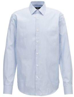 BOSS Hugo Two-color striped shirt in pure Oxford cotton 16 Open Blue