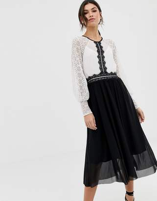 TFNC monochrome long sleeve pencil dress with lace insert
