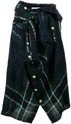 Faith Connexion asymmetric check wrap shirt skirt