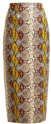 Rochas Python Print Leather Pencil Skirt - Womens - Multi