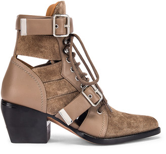 Chloé Rylee Suede & Leather Lace Up Booties in Motty Grey | FWRD