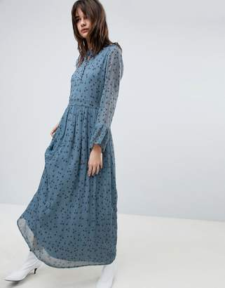 Gestuz Maxi Dress With Blue Flower Print