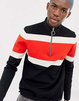 Collusion COLLUSION sweater with half zip in color block stripe