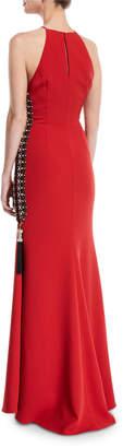 Badgley Mischka Beaded-Side Zipper Slit High-Neck Gown