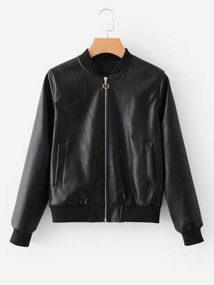 Shein Faux Leather Ribbed Trim Jacket