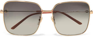 Gucci Oversized Square-frame Gold-tone Sunglasses - Gray