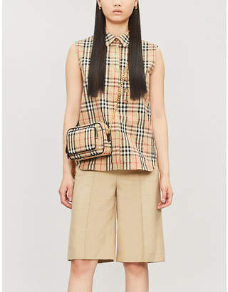 Burberry Sleeveless checked cotton shirt