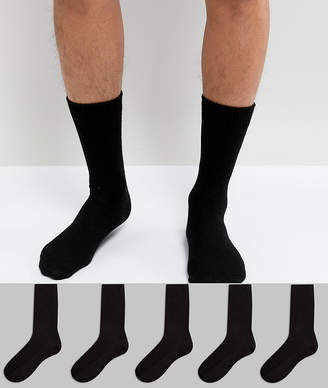 Asos DESIGN waffle socks 5 pack in black