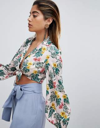 Fashion Union Tie Front Shirt In Tropical Print