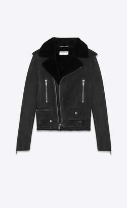 Saint Laurent Biker Jacket In Suede And Shearling