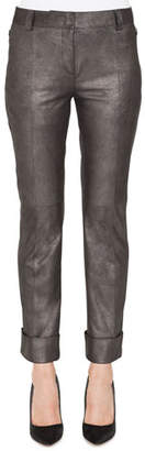 Akris Maxima Conical-Leg Cropped Cuffed Leather Pants