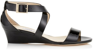 Jimmy Choo CHIARA Black Patent Leather Wedge Sandals