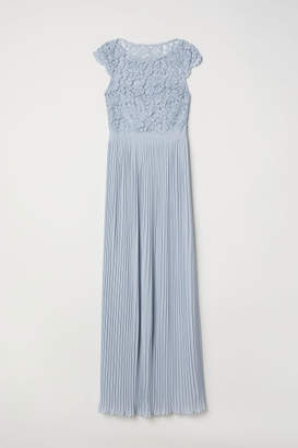 H&M Pleated Long Dress - Blue