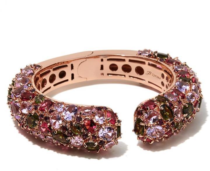 "Joan Boyce ""Big Kiss"" Multicolor Stone Kissable Cuff Bracelet"