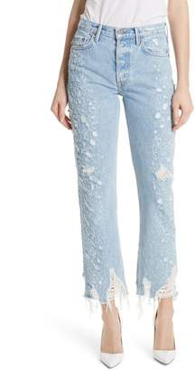 GRLFRND Helena Rigid High Waist Straight Jeans (Burn Out)