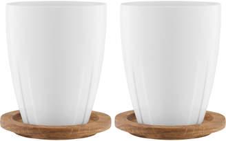 Kosta Boda Porcelain Mug with Oak Lid (Set of 2)