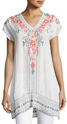 Johnny Was Letty Short-Sleeve Embroidered Silk Georgette Top $235 thestylecure.com