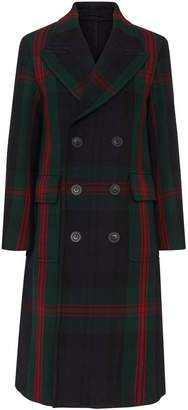 Burberry Tartan Wool Mohair Blend Tailored Coat