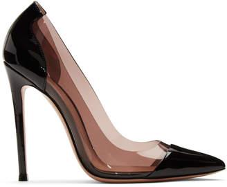 Gianvito Rossi Black and Pink Patent Plexi Heels