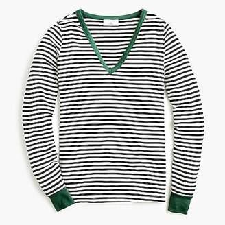 J.Crew X Universal Standard jersey long-sleeve V-neck T-shirt in stripe