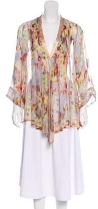Elizabeth and James Printed Silk Three-Quarter Sleeve Top