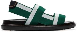 Marni green and white flat elastic strap sandals