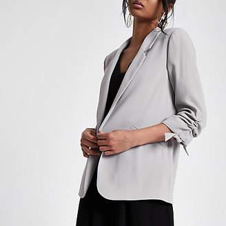 River Island Grey ruched sleeve blazer