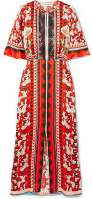Temperley London Odyssey Lace-trimmed Printed Hammered-silk Midi Dress - Tomato red