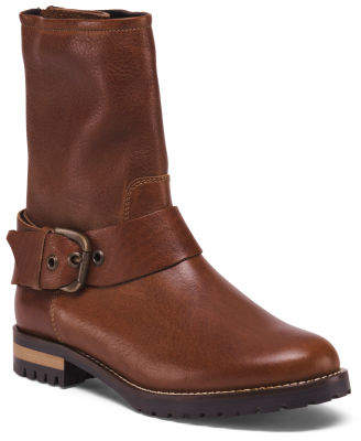 Made In Italy Lug Sole Moto Leather Boots