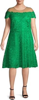 Tadashi Shoji Plus Lace Illusion Knee-Length Dress