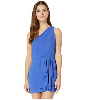 Halston One Shoulder Drape Front Dress
