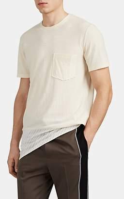 Lanvin Men's Striped-Hem Cotton-Wool T-Shirt - Cream