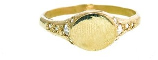 Elisa Solomon Signet Ring with Rose Cut Diamonds - Yellow Gold