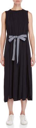 Avn Navy Tie-Waist Maxi Dress