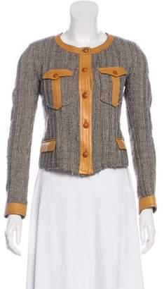 Isabel Marant Leather-Trimmed Collarless Jacket