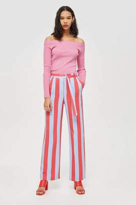 Topshop Candy stripe wide leg trousers