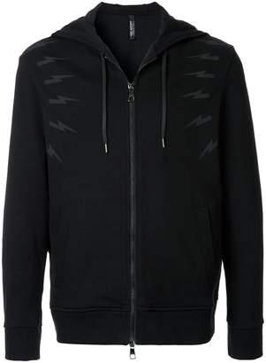 Neil Barrett lightning bolt zipped hoodie