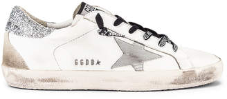 Golden Goose Superstar Sneaker in White & Silver Glitter | FWRD