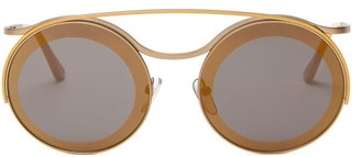 Marni Calder Round Frame Metal Sunglasses - Womens - Gold Multi