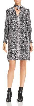 Rebecca Taylor Tie-Neck Snake-Print Silk Shift Dress