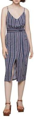 BCBGeneration Striped Self-Tie Midi Dress