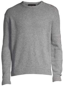 The Kooples Men's Button Detail Crewneck Sweater - Grey - Size Small