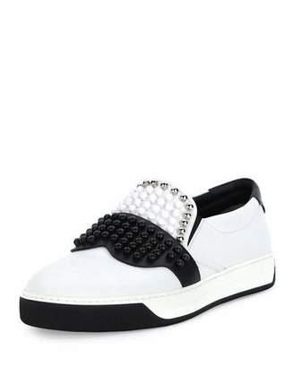 Fendi Karlito Beaded-Top Leather Slip-On Sneaker, White $1,050 thestylecure.com
