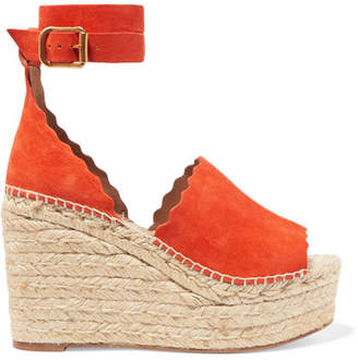 Chloé Lauren Scalloped Suede Espadrille Wedge Sandals - Orange