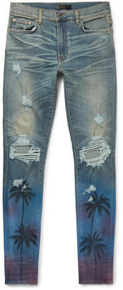 Amiri Thrasher Skinny-Fit Distressed Printed Stretch-Denim Jeans
