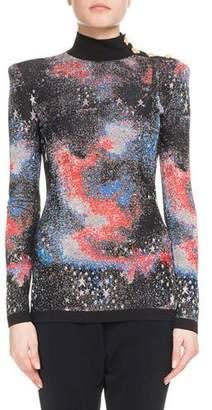 Balmain Mock-Neck Long-Sleeve Constellation-Jacquard Top