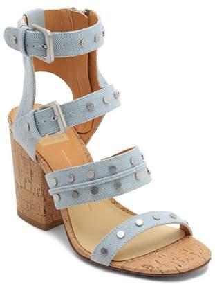 Dolce Vita Women's Eddie Denim High Block Heel Gladiator Sandals