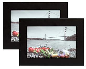 Frametory Set of Two 4x6 Black Picture Frame - Made to Display Pictures 4x6 Photo - Wide Molding Real Glass - Preinstalled Wall Mounting Hardware (4x6 - Set of 2