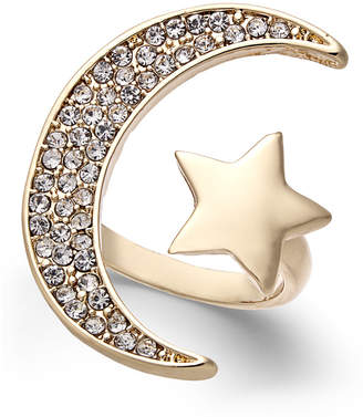 Thalia Sodi Gold-Tone Pave Moon & Star Cuff Ring