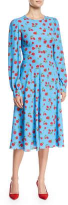Michael Kors Long-Sleeve Rose-Print Silk Georgette Cocktail Dress